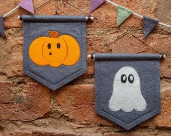 Mini Ghost or Pumpkin Halloween Banners. Halloween Decorations.