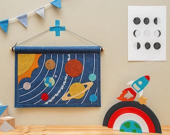 Felt Solar System Space Pennant Banner. Wall Hanging Planet Nursery Decor.
