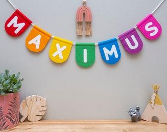 Custom Name Bunting. Personalised Name. Nursery Wall Decor.