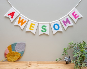Custom Word Bunting. Make Your Own Bespoke Nursery Wall Hanging. Wild. Be Kind. Explore. Love. Awesome.