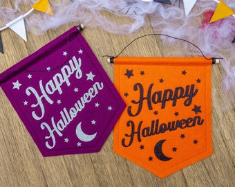 Glitter Happy Halloween Banners. Halloween Decorations.
