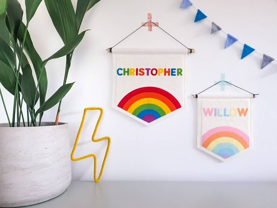 Personalised Rainbow Pennant Wall Banner / Flag. Pastel Nursery Decor. Felt Hanging.