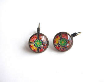Earrings sleepers, patterned with colorful flowers of Japanese inspiration (paper origami).