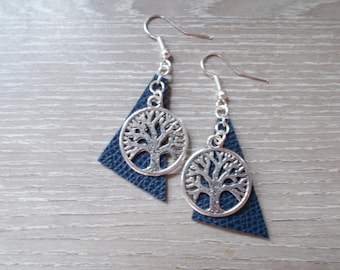 Faux leather and tree of life charm earrings