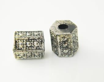 set x 2 11mm (l351) silver tube bead