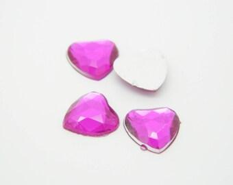 36 x rhinestone pink heart 1 cm (l1254)