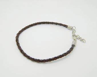 1 x 20cm Brown braided leather bracelet