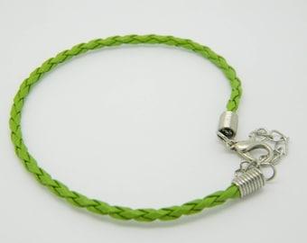 Bracelet braided leatherette green 19cm x 1