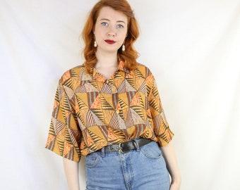 34dd749e2 Beautiful Brown and Orange Light Shirt Size Large