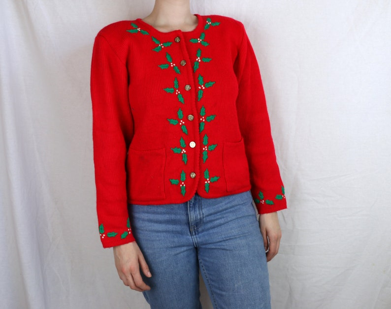 Lovely 1960s Holly Leaf Christmas Cardigan with Pockets and Shoulder Pads*