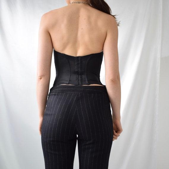 Vintage boned black lace hook eye corset top - image 2