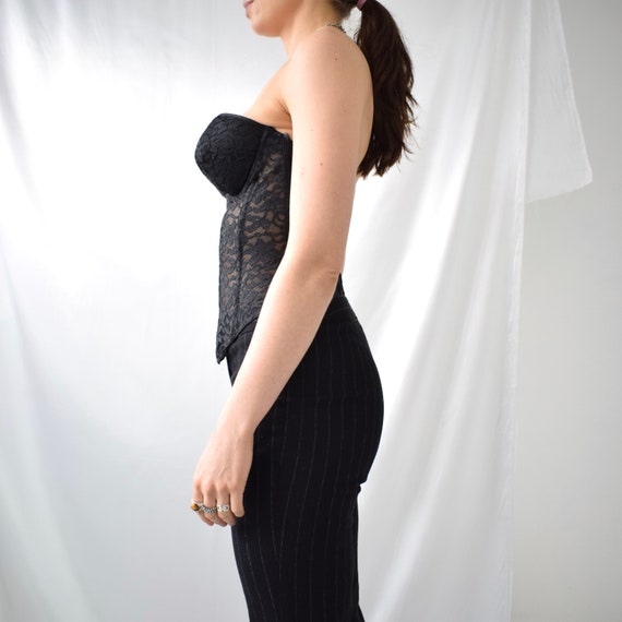Vintage boned black lace hook eye corset top - image 6