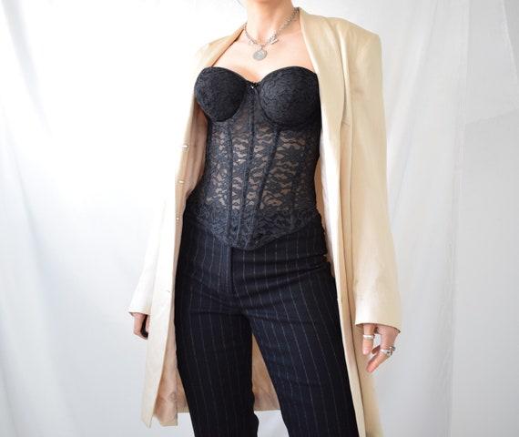 Vintage boned black lace hook eye corset top - image 4