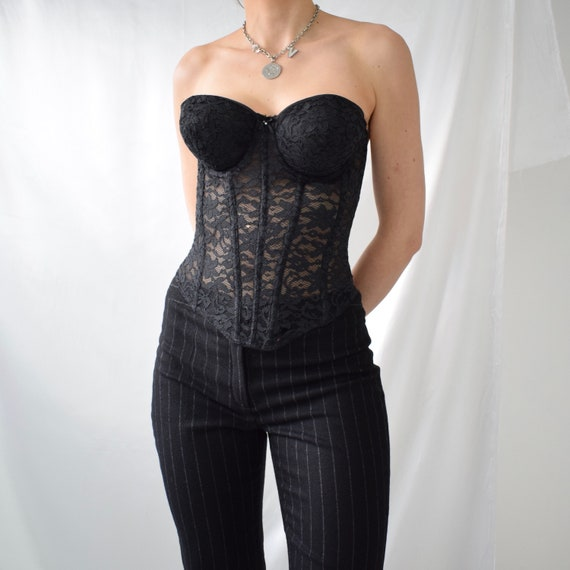 Vintage boned black lace hook eye corset top - image 1