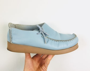 Unique cornflower blue leather loafers