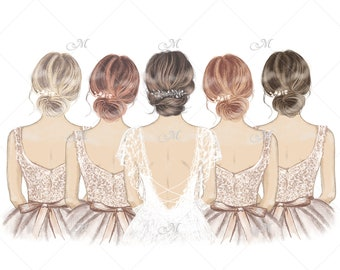 DIGITAL DOWNLOAD - Bride with Bridesmaids in a line, hand drawn illustration, clipart. Commercial use!