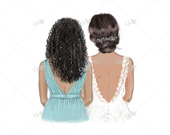 DIGITAL DOWNLOAD - Black Bride and Bridesmaid. Hand drawn illustration. Commercial use!