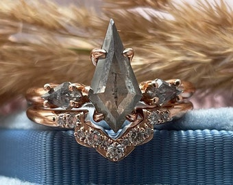 Salt and pepper diamond unique engagement ring set Vintage style engagement ring in 14K Rose gold by Mialis Jewelry