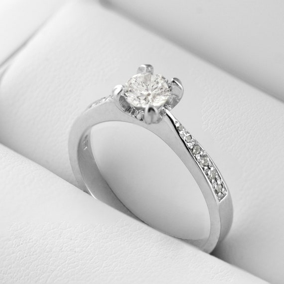 Classical Silver Ring With White Zircon Ring For Engagement Etsy