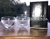Pair of Royal Doulton Clear Hand Cut Crystal Salt Sauce Pots