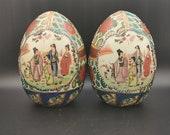 Pair of Satsuma Moriage Eggs - Vintage Ceramics 16cm tall
