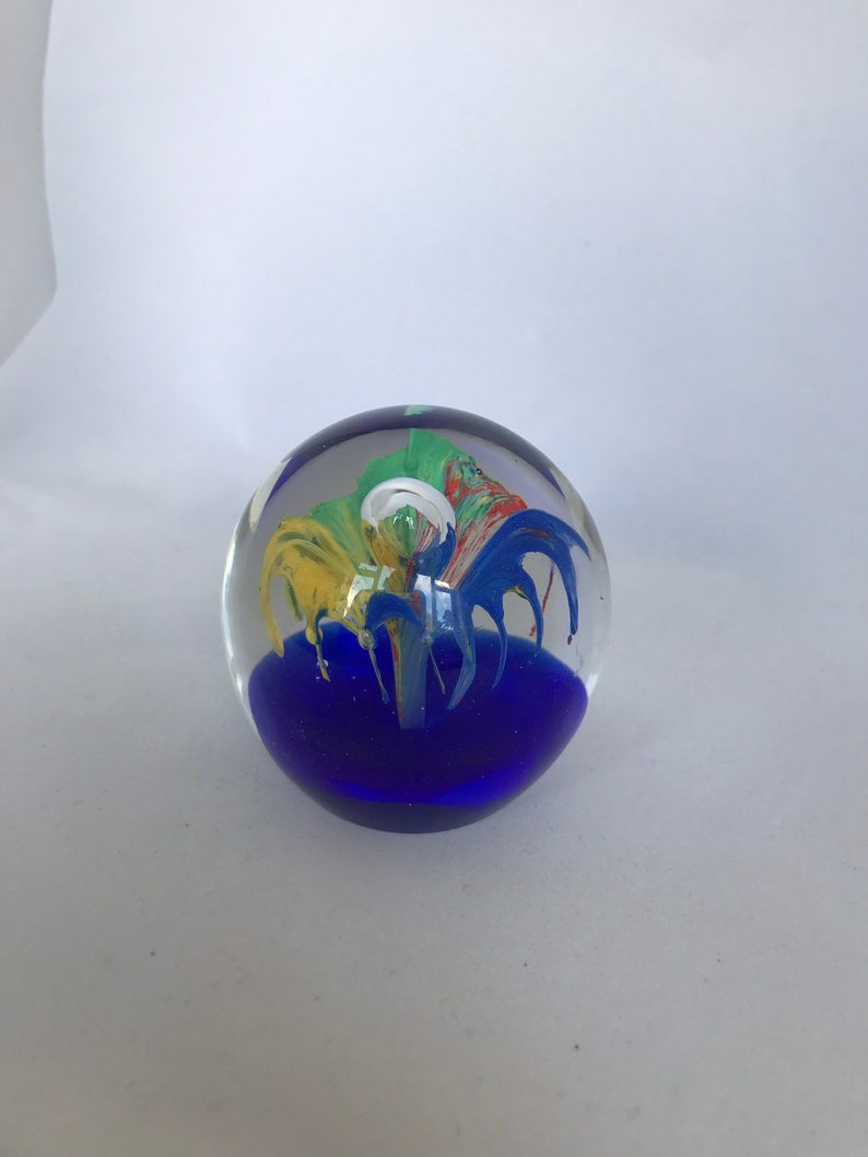 Blue  Multicoloured Flower glass paper weight 6.5cm tall