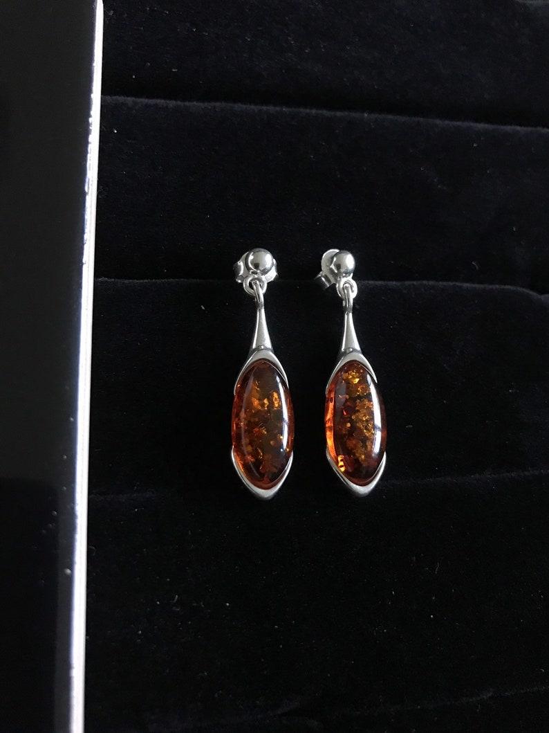 New Handmade Orange Amber /& Solid 925 Silver Pair of Earrings 3.3cm long