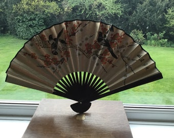 Hand Painted Large Vintage Japanese Fan