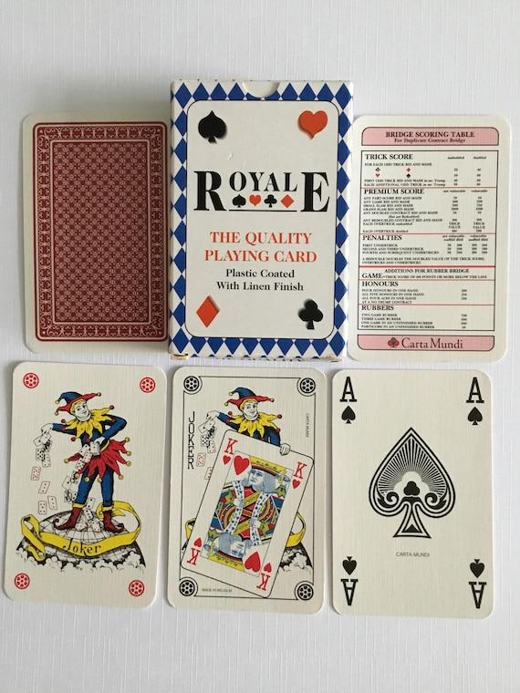 Royale, en plastique enduit avec boîte tablier de lin qualité cartes à jouer.