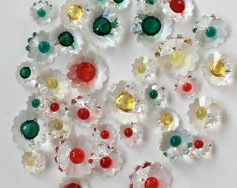 39 Decorative swarkoski crystals, table, wedding, display, colours, red, green, yellow, sizes, 8mm, 10mm, 18mm.