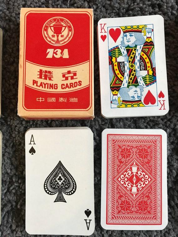 Deck de cartes à jouer tasse d'or 734 vintage des années 1970