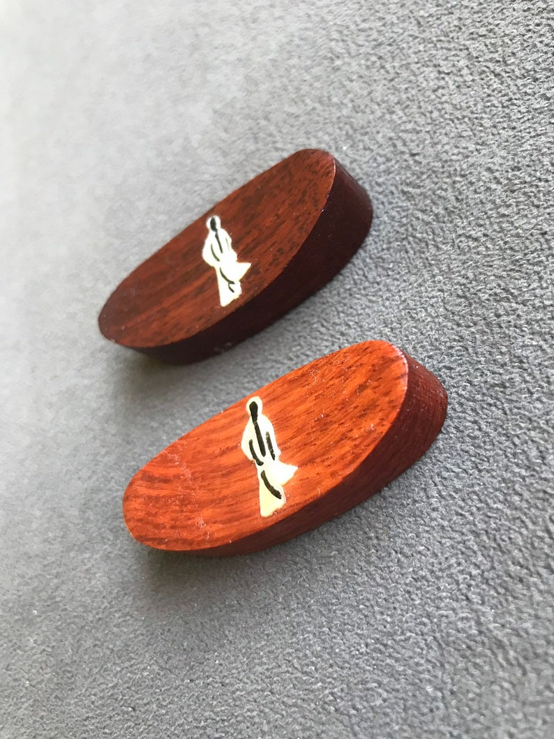 Pair of Vintage Mother of Pearl inlaid into wood Chopstick Rests