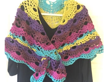 Warm and lacy crocheted shawl