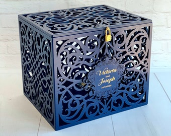 Navy Wedding Card Box With Slot Lock Wedding money box Rustic card box Lockable card box Wedding bank Wedding card box Wedding card holder