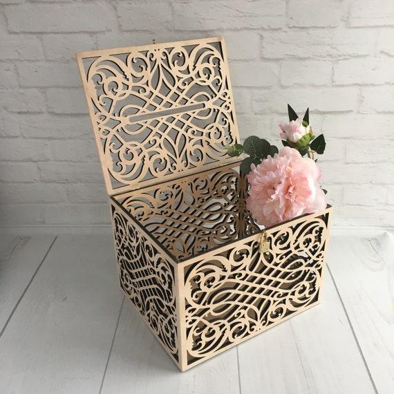 Wedding Card Box With Slot Lock Wedding money box Rustic card | Etsy