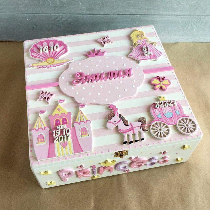 Customised Box Child's Memory Box Princess Party Decor Baby Keepsake Box  Gift for Baby Girl Keepsake Box Personalized Box Newborn Gift Large
