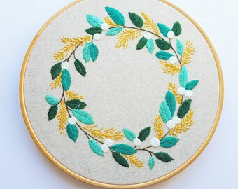 "Spring Wreath on a  8"" Embroidery Hoop"