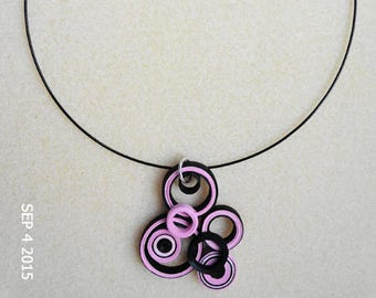 Quilled pink and black geometric Choker