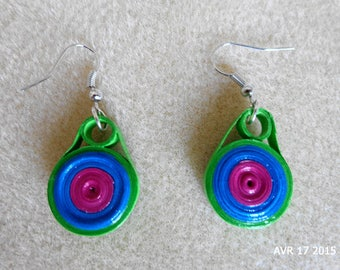 Quilling colorful round earrings