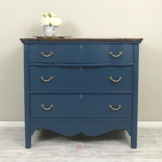 SAMPLE ONLY. SOLD! Vintage Dresser, Antique Furniture, Chest of Drawers,  Dark Blue Dresser, Painted Furniture, Home Decor, Bedroom Decor, C