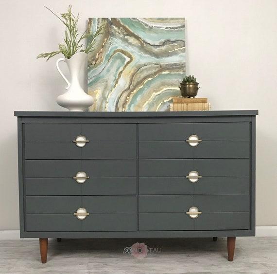 Sample Sold Mid Century Modern Dresser Mcm Furniture Gray Etsy