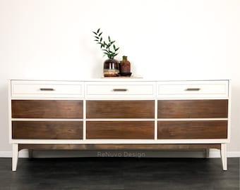 SOLD!  Mid Century Modern 9 Drawers Long Dresser