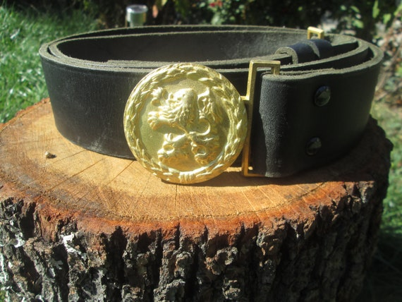 Vintage military belt, Officer's military belt, Bl