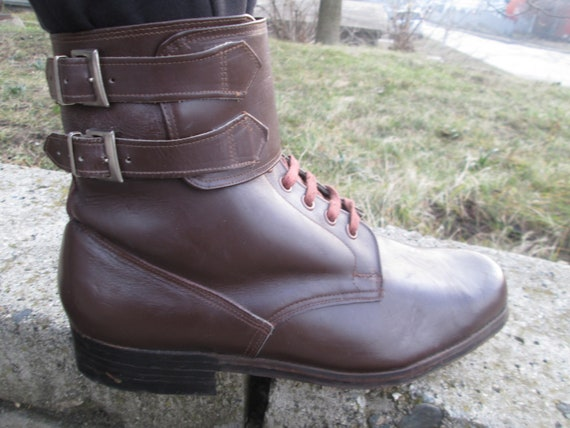 41f930a7add Combat leather boots Vintage Army boots Brown leather boots   Etsy