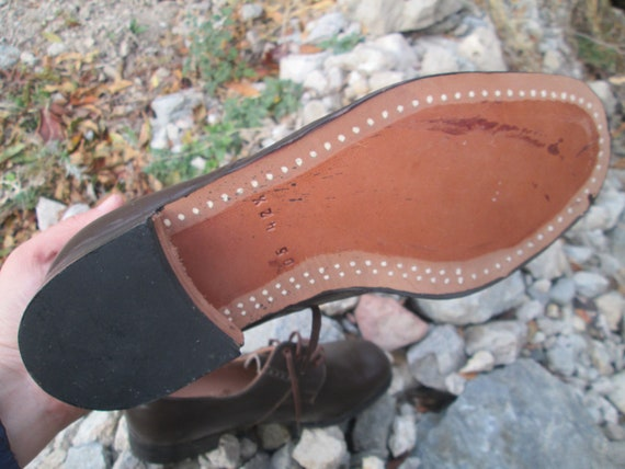 Vintage military shoes, Brown leather shoes, Offi… - image 7