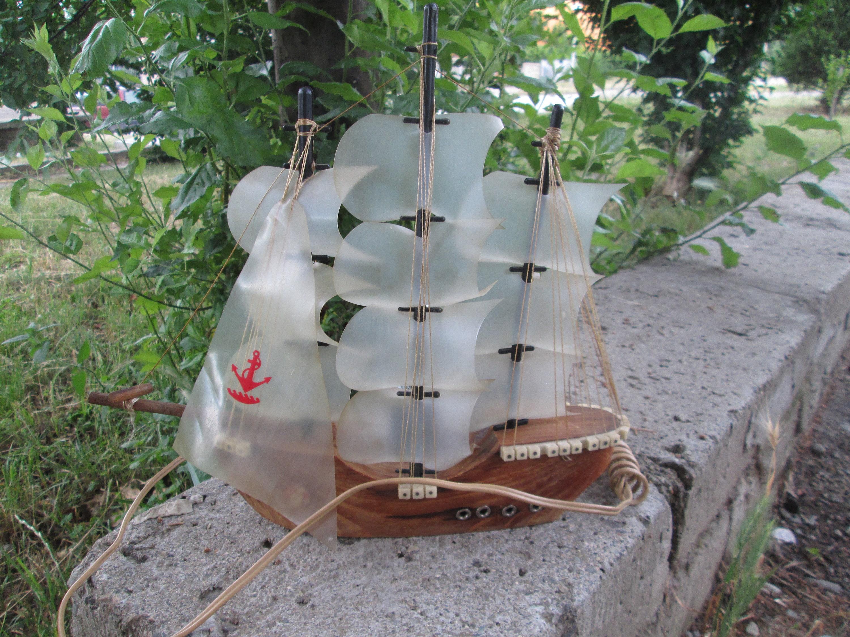 Decorative Ship Vintage Model Ship Vintage Lamp Nautical Decor Vintage Wooden Model Ship Handmade Decorative Ship Home Decoration