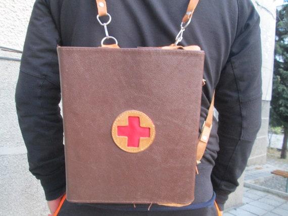 Medical bag, Vintage red cross bag, First aid bag, Vintage medical box,  Vintage medical backpack, Military medical bag, Vintage doctor's bag