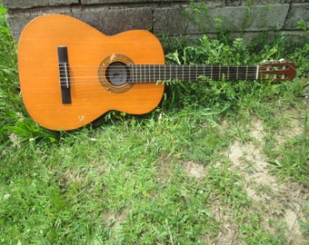 Vintage Guitar, Classical Guitar, Wooden Guitar, Old Musical Instrument, Retro Wooden Instrument, Vintage Acoustic Guitar, Gift idea