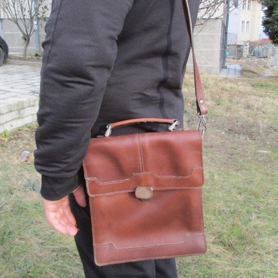 Military leather bag, Genuine leather bag, Shoulde