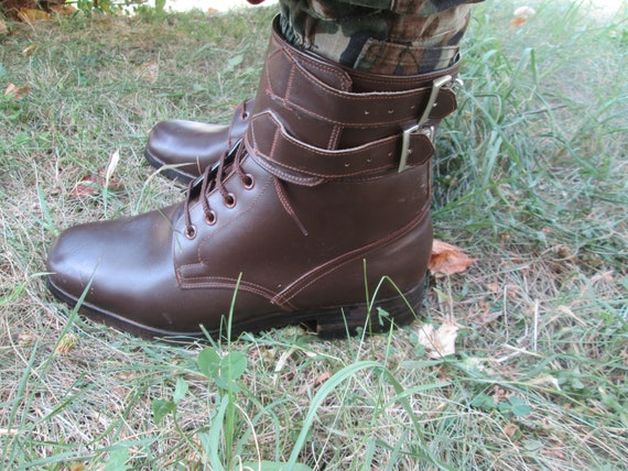 Combat leather boots, Vintage Army boots, Brown le